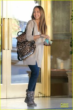 SPOTTED: Jessica Alba rocking our Leopard Backpack.