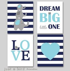 Dream big little one, Set of 4 prints, Elephant wall art, navy blue nursery decor, baby boy nursery art -INSTANT DOWNLOAD by Justabirdprintables on Etsy