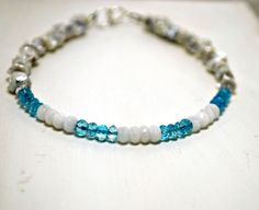 Blue Topaz Gemstone Stacking Bracelet Tiny White by SidandElla, $33.00