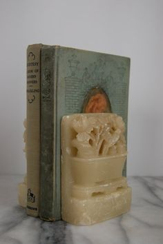 Vintage Carved Soapstone Asian Bookends Floral by PursuingVintage1 #ETSY