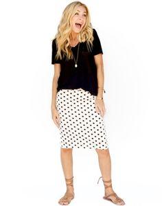 black white ivory polka dot pencil skirt
