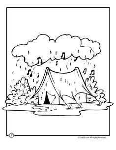 Camping Coloring Pages Rainy Day Page Craft Jr