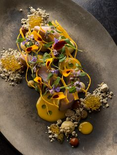 Brook trout, maple syrup, sherry vinegar, and curry squash by chef Grant Achatz of Alinea. Make a Michelin star dish for fun. Wine Recipes, Gourmet Recipes, Michelin Star Food, Chicago Restaurants, Living At Home, Cuisines Design, Molecular Gastronomy, Edible Flowers, Edible Art