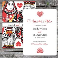 Lucky In Love - Wedding Save the Date with King & Queen of Hearts. Option to Print.