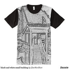 black and white small building All-Over-Print shirt - drawing sketch design graphic draw personalize Black White Art, Black And White Style, Black And White Drawing, Black White Fashion, Black Tops, Types Of T Shirts, Shirt Drawing, Small Buildings, Stylish Shirts