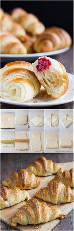 Why bother with homemade croissants? Because they are light and airy goodies with extra buttery crust, cotton soft interior and beautiful golden color! Plus, you get a huge ego boost looking at your beautiful creations. Pastry Recipes, Cooking Recipes, Homemade Croissants, Homemade Cheese, Homemade Butter, Pan Relleno, Croissant Recipe, Golden Color, Breakfast Recipes