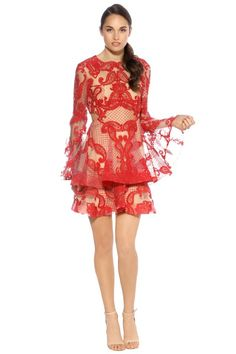 3489272510357 Thurley - Paisley Passion Dress - Front - Red Dress Hire, Wardrobe Staples,  Lace