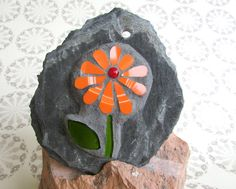 Orange Daisy Mosaic Wall Art ~ Decorative Wall Art ~ OOAK Art ~ Home Decoration ~ Recycled Garden Art ~ Eco Thank You Gift ~ Gardeners gift by RecycleMeMosaics on Etsy