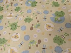 Etsy $9.75 Flannel Fabric - Sweet Frogs, Turtles and Dragonflies - 1 yard - 100% Cotton Flannel