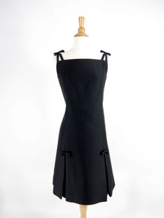 1960s Gino Charles Black Wool Silk Cocktail Dress Malcolm Starr - med by Better Dresses Vintage
