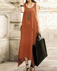 5dedd228412c9 Women Plus Size Sleeveless Asymmetrical Hem Cotton Pocket Maxi Dress Trendy  Fashion