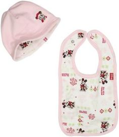 Minnie Mouse Baby's First Christmas bib and beanie set
