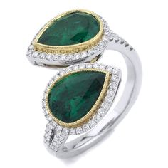 Inward Facing Pear Emerald & Diamond Ring
