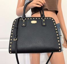 Michael Kors Large Satchel Saffiano Leather MK Black Gold Shoulder Bag Purse #MichaelKors #ShoulderBag
