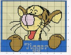 Tigger x-stitch Cross Stitch Cards, Cross Stitch Animals, Cross Stitching, Cross Stitch Embroidery, Crochet Blanket Tutorial, Messenger Bag Patterns, Disney Cross Stitch Patterns, Winnie The Pooh Friends, Cross Stitch Pictures
