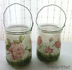 Hanging Glass Lanterns Rose design Set of 2 by witchcorner on Etsy, $25.00