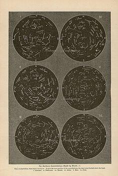 Vintage Edwardian NORTHERN 1 star map astronomy print star chart zodiac constellations Celestial Maps