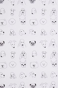 Dogs Wallpaper $198 Anthro; Baines & Fricker; non adhesive; 20x33, 9' repeat (covers 56 sf). Style 27468248