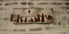 Christmas Home Decor Wooden Christmas Nativity Scene Sign