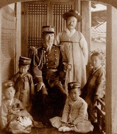 OLD KOREA - LAND OF THE MORNING CALM -- Korean MINISTER OF WAR, His Son, and Grand Children. SEOUL, 1903