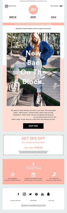 Really Good Emails - The Best Email Designs in the Universe (that came into my inbox) Welcome Emails, Email Layout, Email Newsletter Design, Email Design Inspiration, Email Marketing Design, Public Desire, Best Email, Edm, Universe