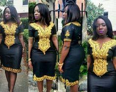 Ladies Black Dress, Gold embroidery, Plus Size Dress, Black Dress, African Dress… African Dresses For Women, African Print Dresses, African Attire, African Wear, African Fashion Dresses, African Women, Nigerian Fashion, Ghanaian Fashion, African Prints