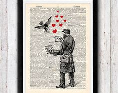 Postman Love Letter Lovebird vintage dictionary page book art print