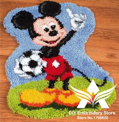 Latch Hook Rug Kits DIY Needlework Unfinished Crocheting Rug Yarn Cushion Mat Cartoon Cat with Football Embroidery Carpet Rug