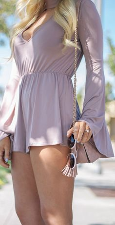 Mauve Bell Sleeve Romper and Round Sunglasses