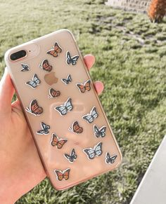 These phone case stickers will take your boring clear case and turn it into a work of art! Computer Case, Diy Phone Case, Iphone Cases, Aesthetic Phone Case, Phone Stickers, Iphone 8 Plus, Vsco, Phones, Butterfly