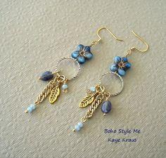 77deaf1d087e2 Bohemian Jewelry, Blue Flower Dangle Earrings, Forget Me Not, Iolite  Gemstone Earrings,