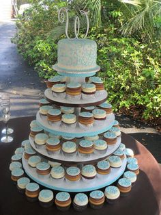 Baby Blue Wedding Cupcake Tower Scrolls Silver Cupcake Toppers Lake House Cake by Shannon