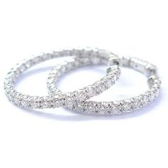 Pre-owned Fine Round Cut Diamond Inside Out Hoop Earrings 52-stones... ($4,500) ❤ liked on Polyvore featuring jewelry, earrings, accessories, none, hoop earrings, pre owned jewelry, preowned jewelry, stone jewelry and stone jewellery