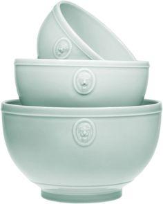 Set of 3 Earthenware Lt Blue Lions Head Mixing or Serving Bowls Home Essentials #HomeEssentials