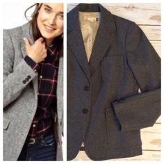 """J. Crew wool blazer I love this blazer- so versatile and warm!! J. Crew wool blend blazer in gray, double front button closure and full polkadot lining. Beautiful coat in beautiful condition. Tagged as size M, Measurements when laying flat: 20"""" chest and 24"""" length. J. Crew Jackets & Coats Blazers"""