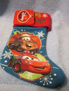 (NEW) DISNEY MINI CHRISTMAS STOCKING (CARS) Mini Christmas Stockings, Cars, Disney, Holiday, Ebay, Little Cottages, Vacations, Autos, Car