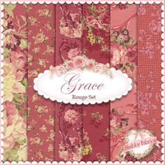 """Mary Rose Grace 6 FQ Set - Rouge by Quilt Gate Fabrics: Mary Rose Grace is a shabby style collection from Quilt Gate Fabrics. 100% cotton. This set contains 6 fat quarters, each measuring approximately 18"""" x 21""""."""
