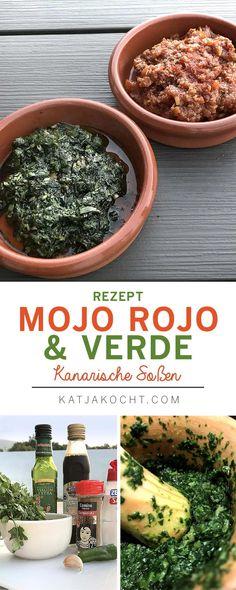 Ein kanarischer Klassiker: kleine schrumpelige Kartoffeln mit roter und grüner Soße.  Zutaten Mojo Rojo 1 Scheibe Weißbrot 2 Knoblauchzehen 1 kleine rote Chilischote 1,5 TL Kreuzkümmel 1 TL Pimentón, geräuchtertes Paprikapulver 2 TL Weinessig 2 EL Olivenöl Salz & Pfeffer  Zutaten für Mojo Verde 2 Knoblauchzehen 1 kleines Bund frischer Koriander 1 kleine grüne milde Chilischote 1/2 TL Kreuzkümmel, gemahlen 2 TL Weinessig 8 EL Olivenöl Salz & Pfeffer