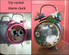 I took an alarm clock that had long since served it's purpose and re-purposed it into a rustic picture frame. Rustic Picture Frames, Time Stood Still, Alarm Clock, Repurposed, Christmas Ornaments, Holiday Decor, How To Make, Pictures, Home Decor