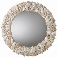 White-Round Natural Shell Mirror.