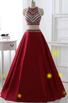 Round Prom Dresses, Burgundy Long Prom Dresses, Two Pieces Burgundy Long A-line Satin Beaded Pretty Prom Dresses #promdressesred #beadingdresses #prettydress #twopiecepromdresses #eveningdresses