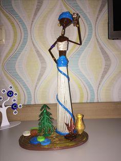 Paper Bag Crafts, African Dolls, African Crafts, Newspaper Crafts, Craft Things, Paper Dolls, Statue, Newspaper Art, Journaling