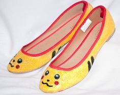 Pikachu Hand Painted shoes by KaylasGettinPlace on Etsy