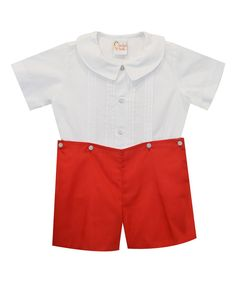 White Button-Up & Red Shorts - Infant & Toddler