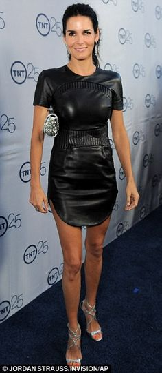 Angie Harmon rocked a leather LBD at the TNT 25th Anniversary party in Beverly Hills on Wed night