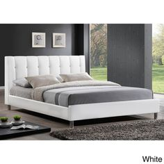 White Modern Bed with Upholstered Headboard with gorgeous designs