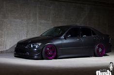 Lexus IS300 in Gray Graphite Pearl on Purple Enkei RPF1 wheels