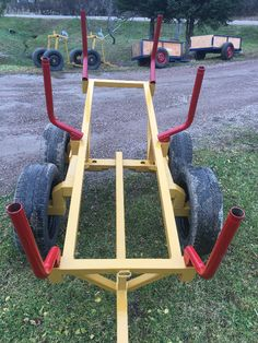 new atv tandem logging trailer wheels suspension travels independently for more stable load the 6 posts can be rotated for different length of wood. for more information don't hesitate to call. asking 995$ obo or trade. call (506)758-8986 (the video is just an example of a similar trailer at work) no emails please i'm just posting this for a friend