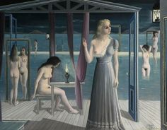 View FILLES AU BORD DE L'EAU By Paul Delvaux; oil on canvas; by by 70 in; Access more artwork lots and estimated & realized auction prices on MutualArt. Paul Delvaux, Rene Magritte, Mirror Art, 2d Art, Global Art, Sculpture, Fantastic Art, Art Market, Oil On Canvas