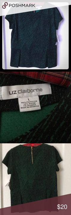 NWT Liz Claiborne Top Short sleeve Liz kelly green & black velvety-feel peplum in polyester, rayon & spandex with subtle geometric lines. Gold tone back zipper. Tailored look. Size L. Never worn. Smoke-free home. Plus Fashion, Fashion Tips, Fashion Design, Fashion Trends, Geometric Lines, Green Tops, Kelly Green, Liz Claiborne, St Patrick